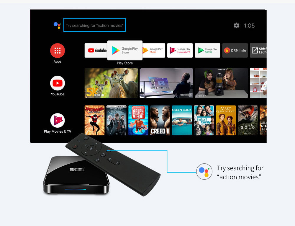 MECOOL KM3 905X2 Android 9.0 Smart TV Box 4G 64G Amlogic Quad Core A53 3D 4K USB3.0 Support Youtube Google 3