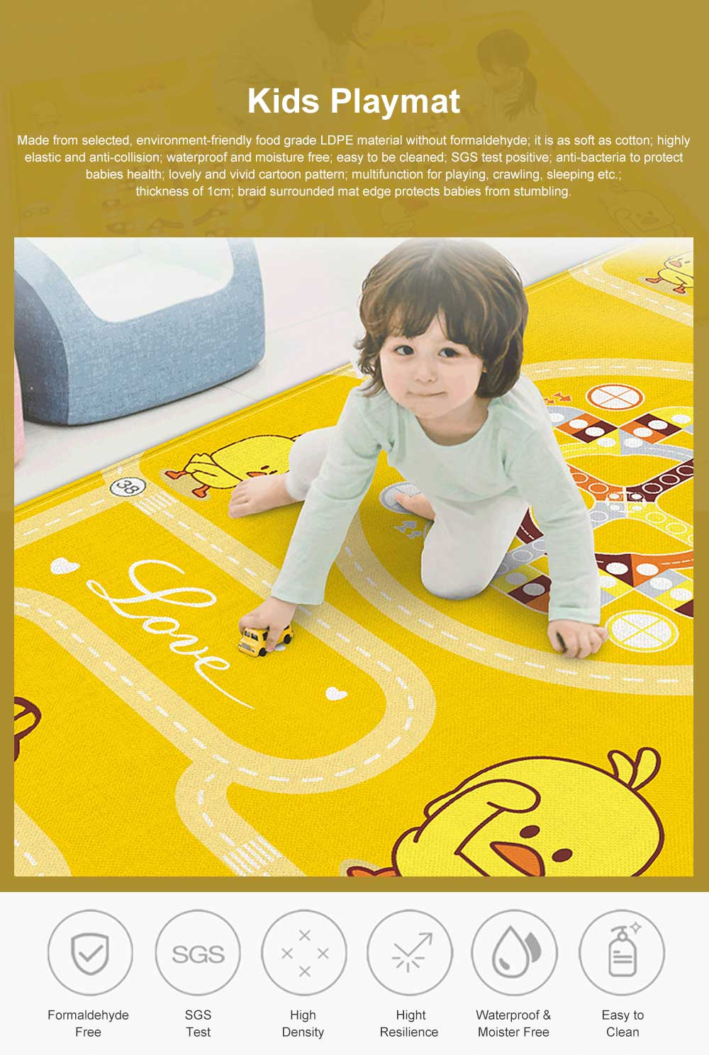 Duckling Cartoon Crawling Mat Thickness 1cm Mambobaby Parent-child Interaction Baby Cushion Aeroplane Chess Playmat 0