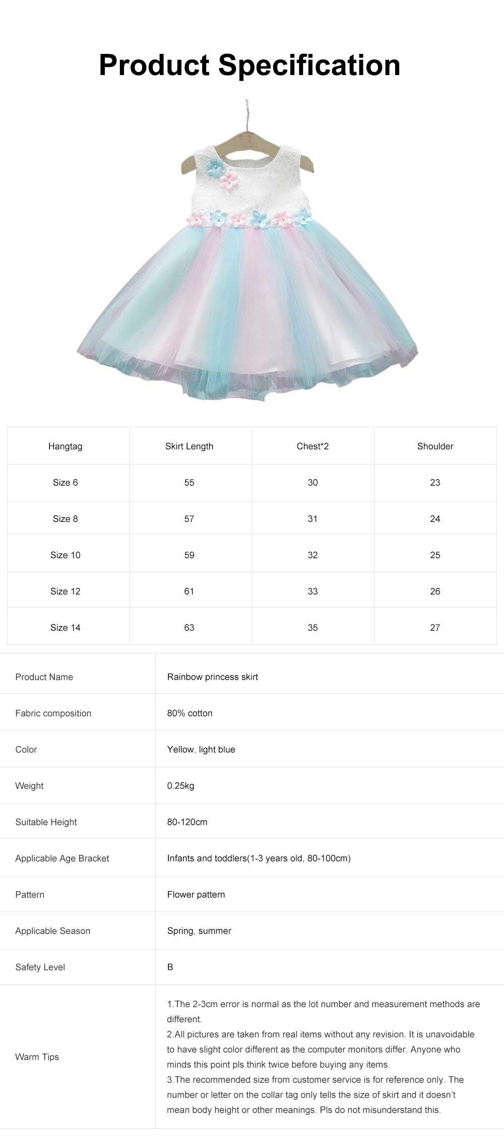 Rainbow Color Princess Skirt for Girl Kids, Summer Wear Korean Style Sleeveless One-piece Dress Princess Skirt for 1-3 Years 6
