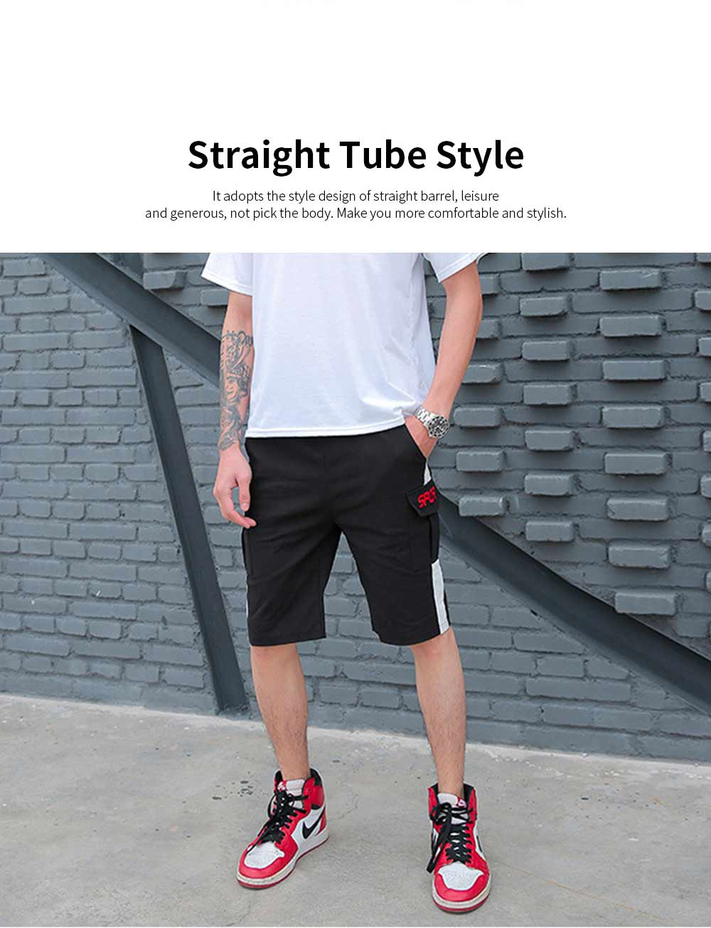 Men's Casual Overalls Shorts Students' Five-Point Shorts New Fashion Pocket Pants For Summer 1