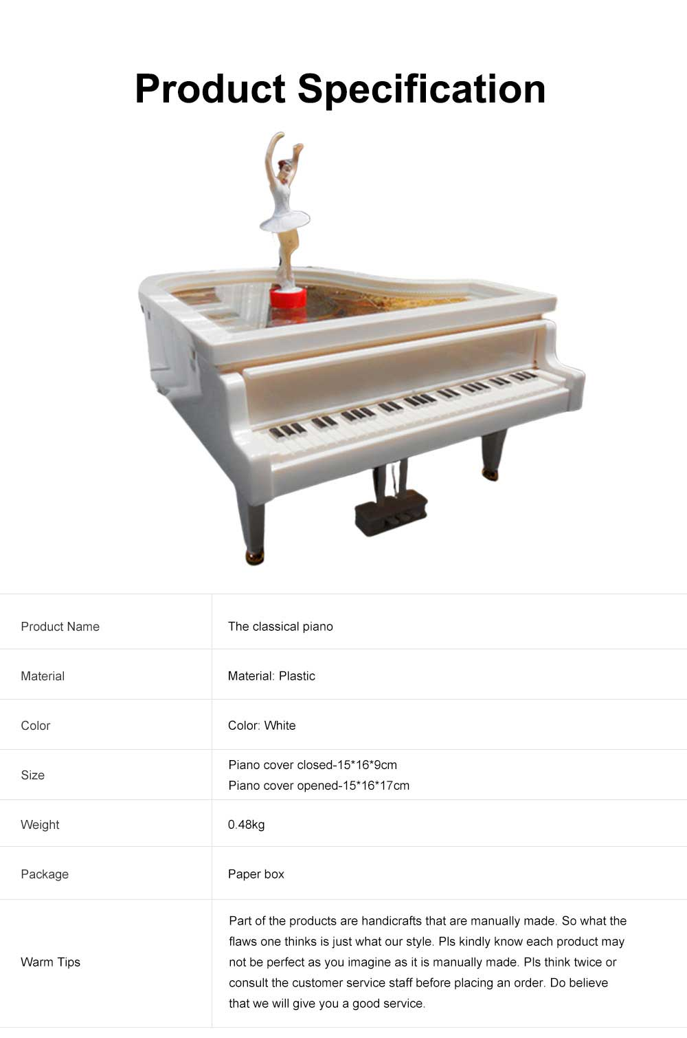 Creative Ballet Rotating Piano Music Box Christmas Gift or Valentine's Day Presemt Piano with Dancing Ballet Girl 6