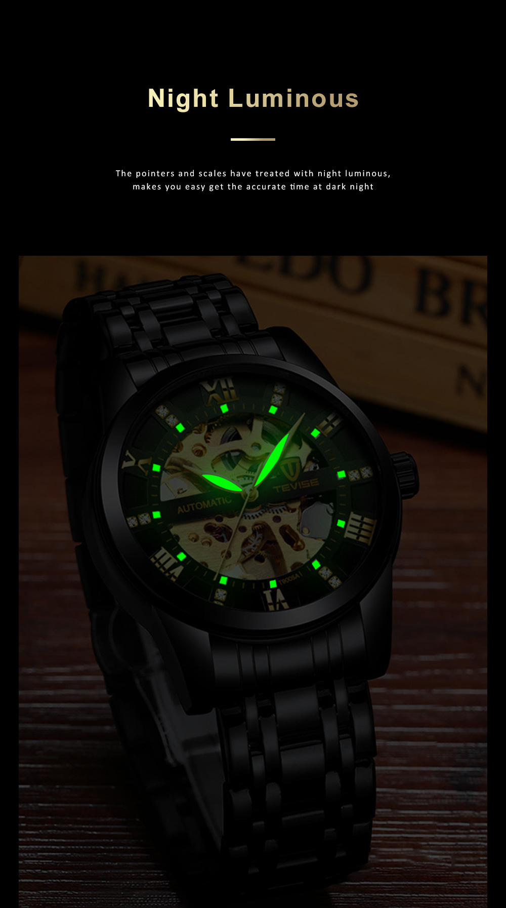 Automatic Mechanical Men's Watch for Business, Daily, Dating, Luxurious Fashion Businessman Watch with Waterproof 2
