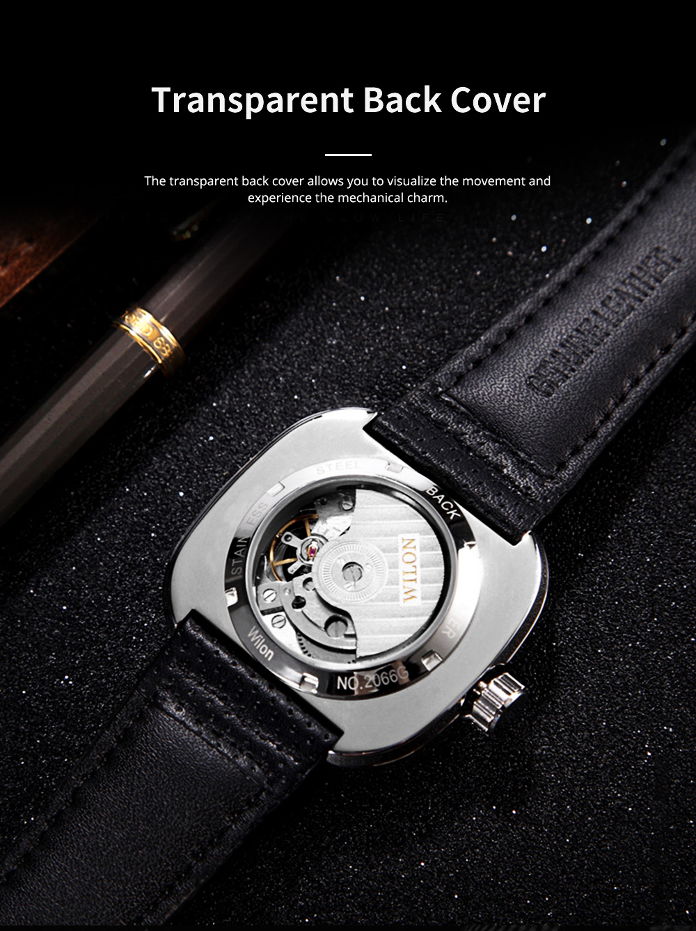 Youth's Watch Square Automatic Mechanical Watch Transparent Hollow Wrist Watch With Genuine Leather Strap 3