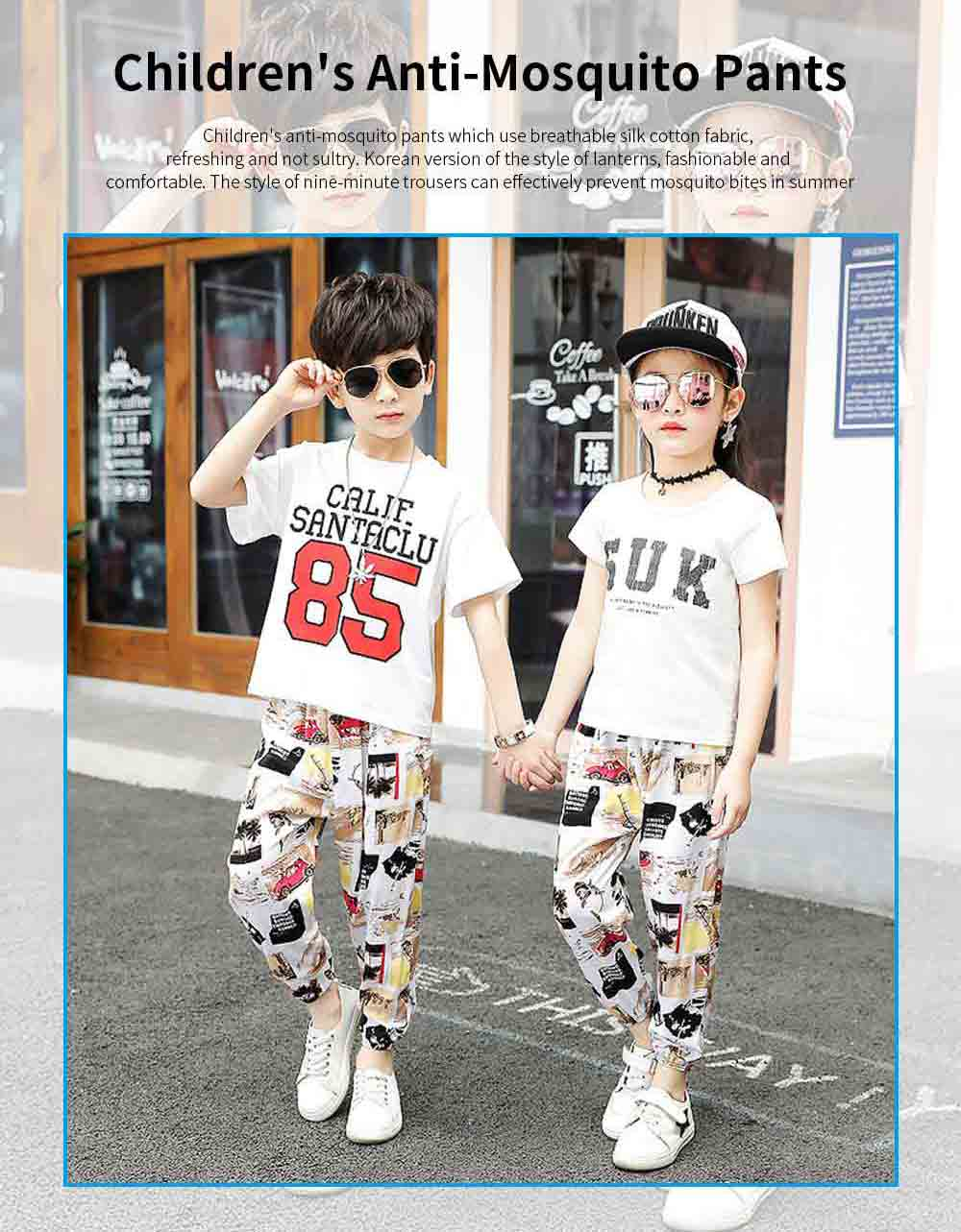 Boy Pants Silk Stylish Design Anti-Mosquito Elastic Cotton for Children Summer Thin Lantern Pants Harem Pants 0