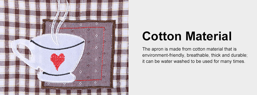 Embroidered Check Pattern Household Kitchen Apron Antifouling Waist Cloth Pinafore 5