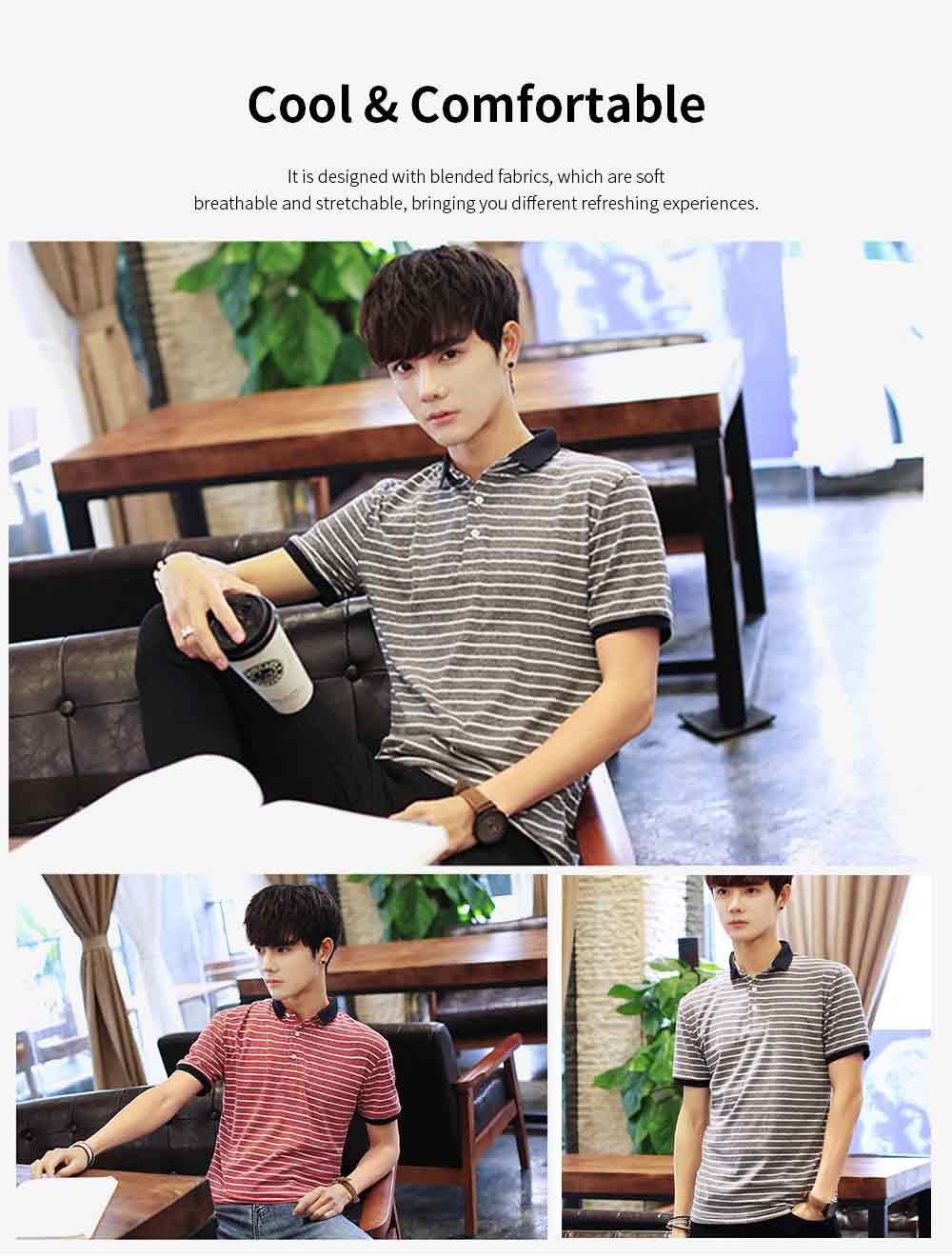 Men's Casual Short-Sleeved Polo Shirt Korean-Style Fashionable Striped Shirt For Summer 5