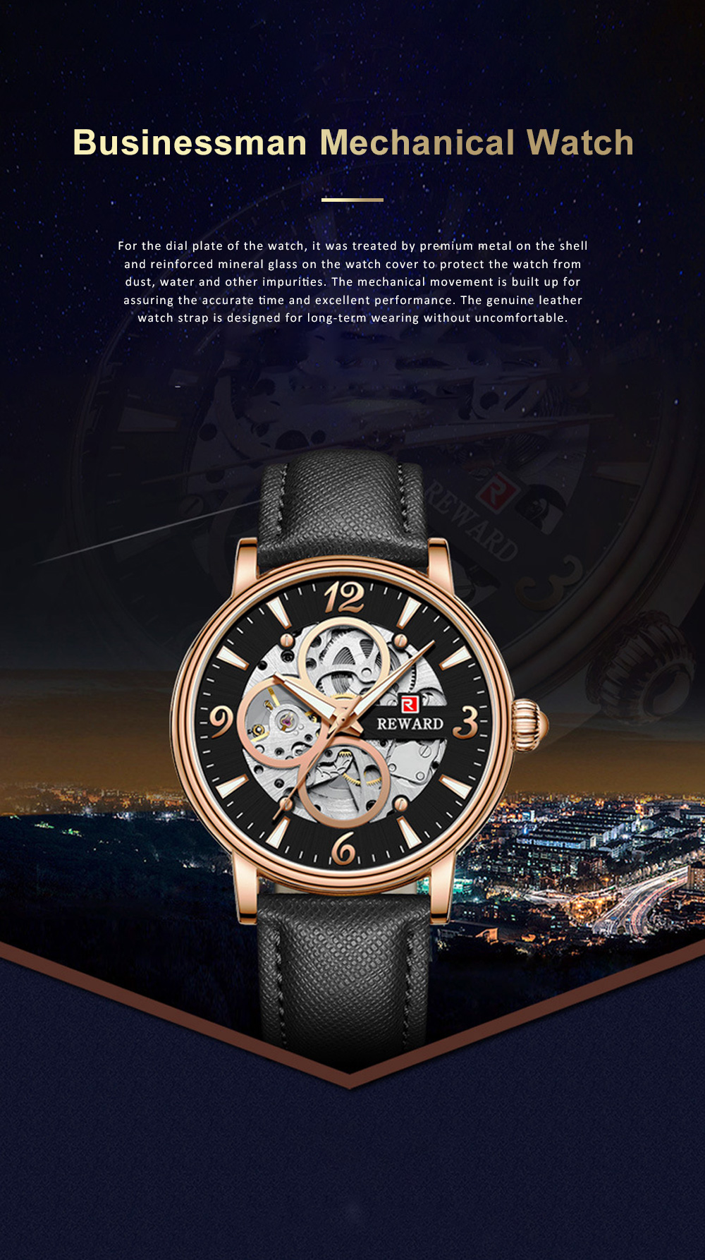 Businessman Mechanical Watch with Genuine Leather Watch Strap, Waterproof Hollow-out Bottom Cover Automatic Mechanic Men's Watch 0