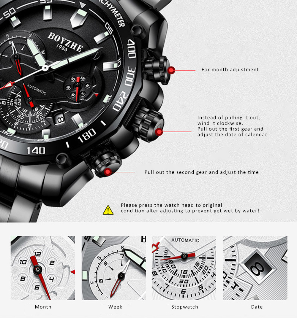Automatic Mechanical Watch for Businessman, Stainless Steel Watchband Fashion Watch, Waterproof Sports Wrist Watch 8