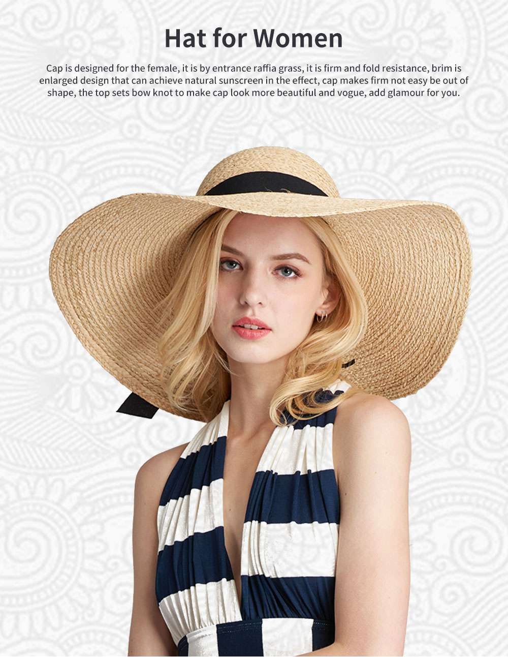 Lightweight Raffia Hat Breathable Topper Fashionable Bow Knot Sunhat Sunscreen for Women Beach Outside Activities Cap 0