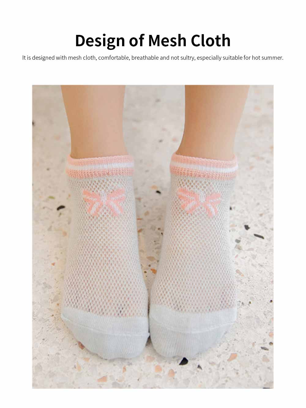 Children 's Thin Mesh Socks All-cotton Breathable Shallow mouth Cute Children's Socks For Summer 3
