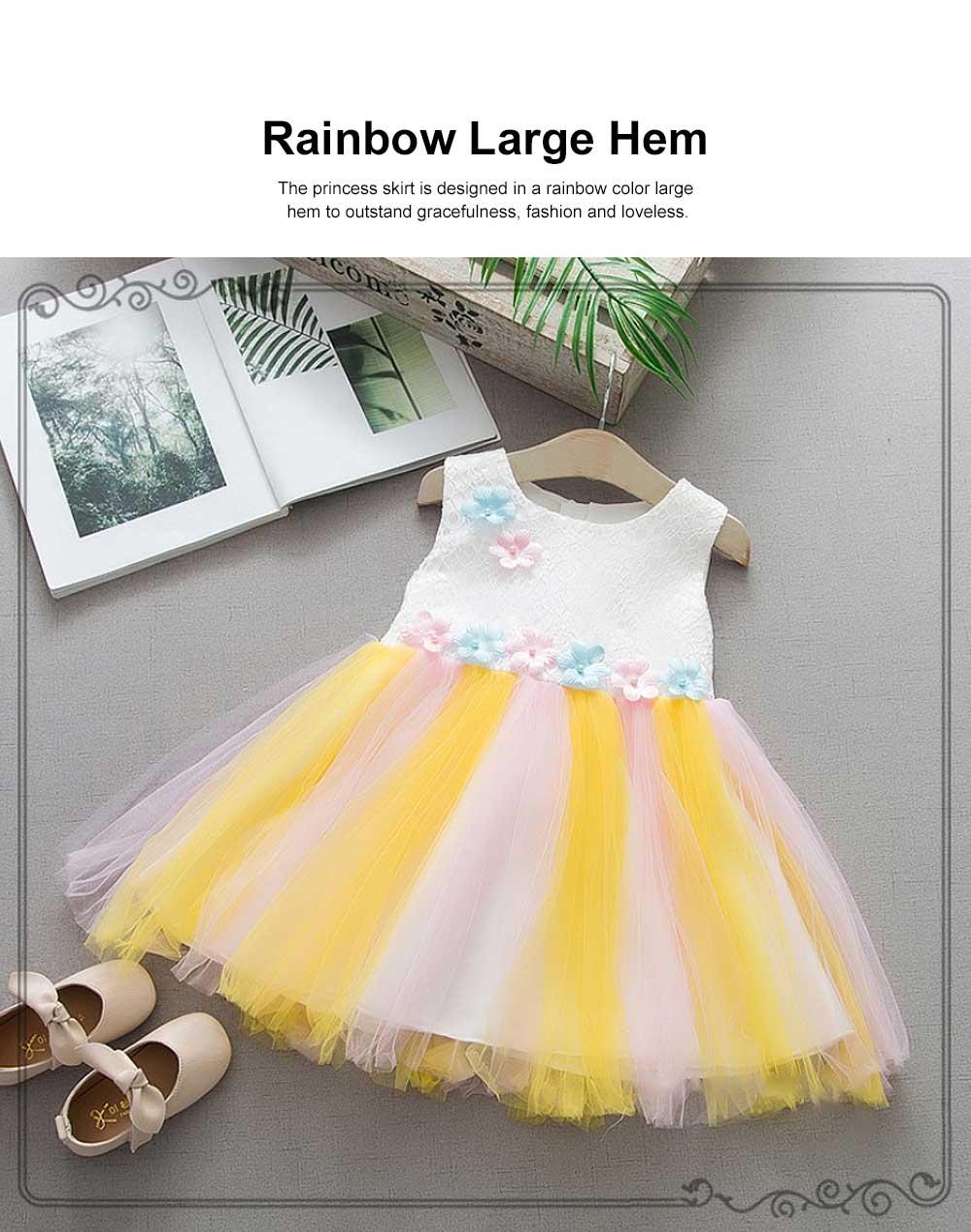 Rainbow Color Princess Skirt for Girl Kids, Summer Wear Korean Style Sleeveless One-piece Dress Princess Skirt for 1-3 Years 2