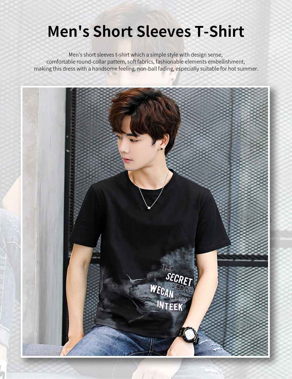 Men's T-Shirt With Round Collar &Short Sleeves New Fashionable Underclothes For Summer 0