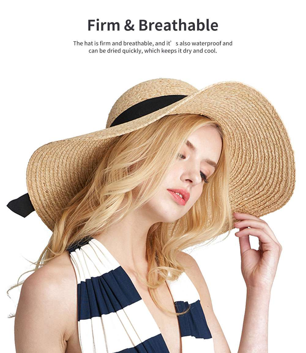Lightweight Raffia Hat Breathable Topper Fashionable Bow Knot Sunhat Sunscreen for Women Beach Outside Activities Cap 2