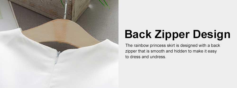 Rainbow Color Princess Skirt for Girl Kids, Summer Wear Korean Style Sleeveless One-piece Dress Princess Skirt for 1-3 Years 5