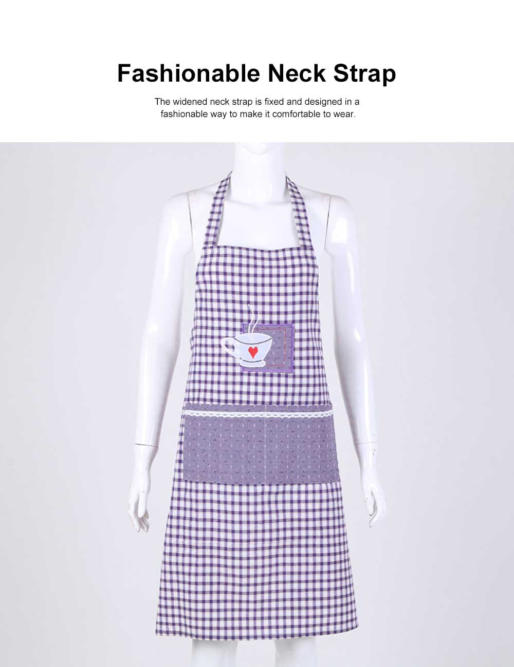 Embroidered Check Pattern Household Kitchen Apron Antifouling Waist Cloth Pinafore 1