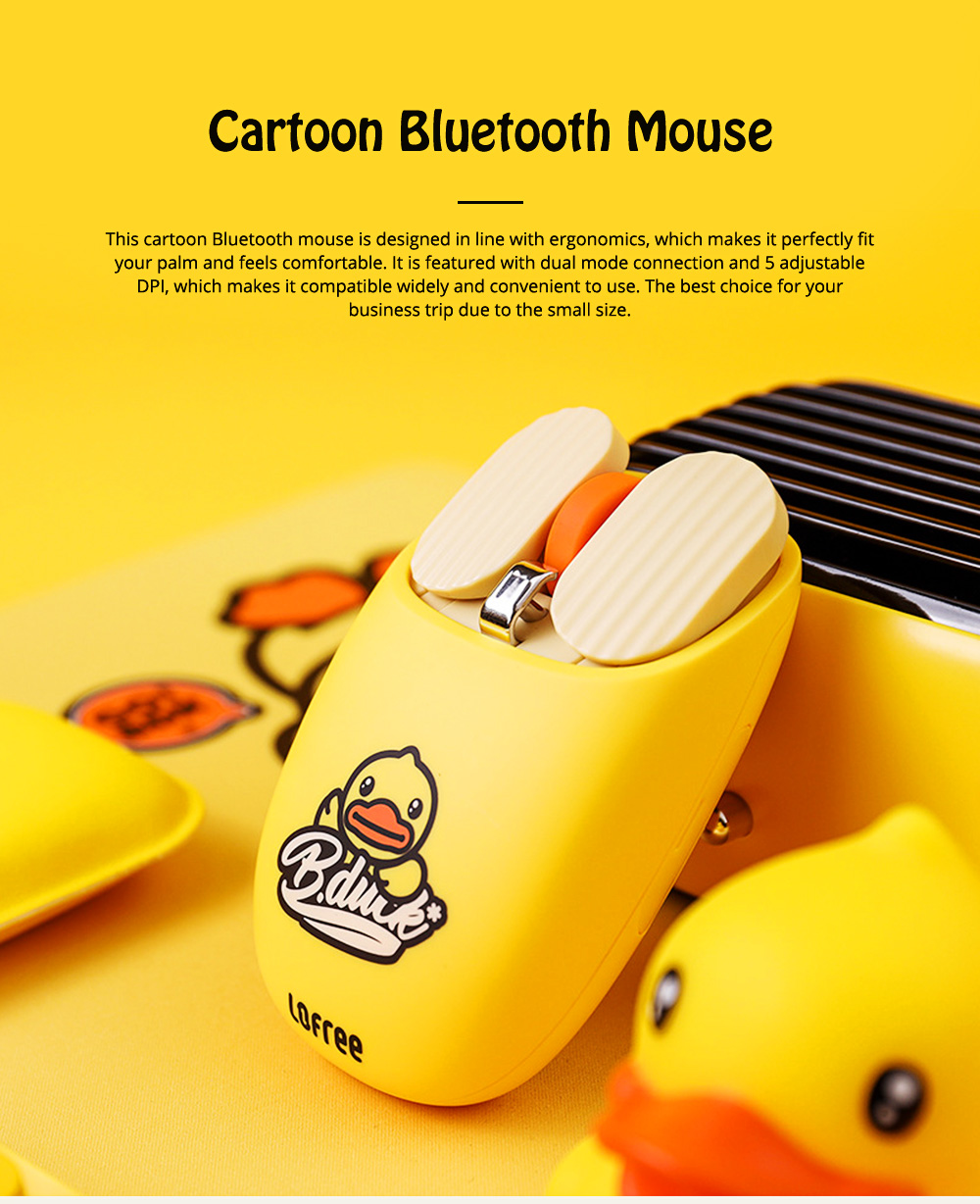 LOFREE Dual Mode Yellow Duck Bluetooth Mouse with 5-level Adjustable DPI Up to 3600, Yellow Duck Cartoon Wireless Mouse 0