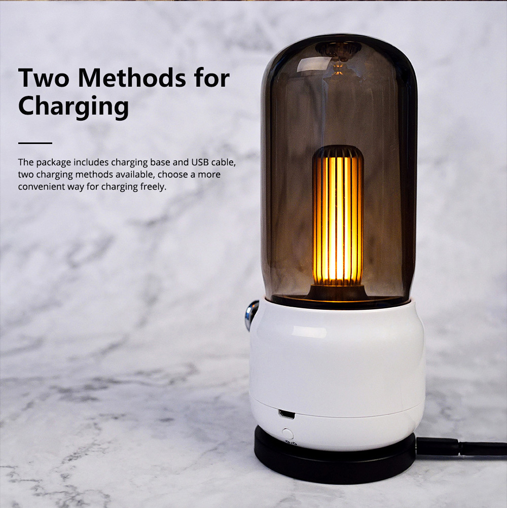 Creative Candlelit Night Light LED Desk Lamp Adjustable Brightness with USB Charging Energy-saving Lamp for Bedroom Bathroom Hallway 5