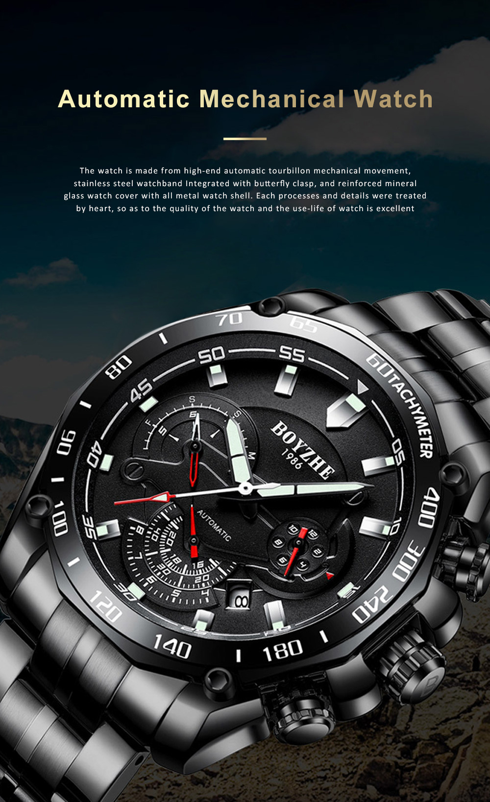 Automatic Mechanical Watch for Businessman, Stainless Steel Watchband Fashion Watch, Waterproof Sports Wrist Watch 0