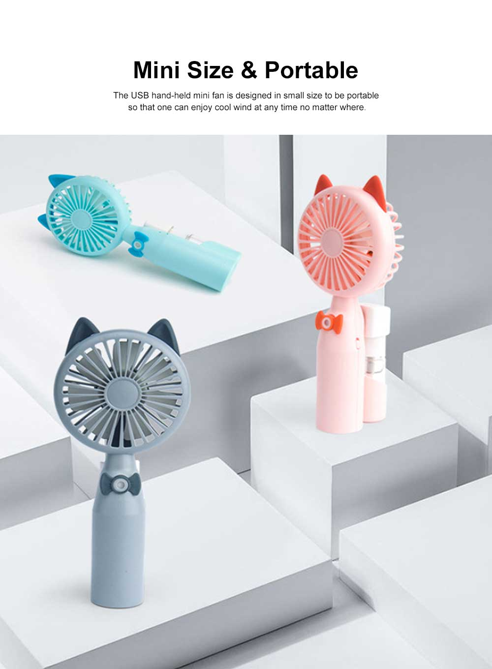 Mini USB Hand-held Fan Lovely Cartoon Cat Portable Spraying Humidifier Small Size Fan with Mesh Enclosure For Summer Use 3