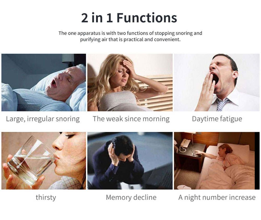 Anti-Snoring & Air Purifier Apparatus, 2 In 1 Sleep Breathe Difficulties Helper, Snore Stopper for Healthy Breath and Sleep 3
