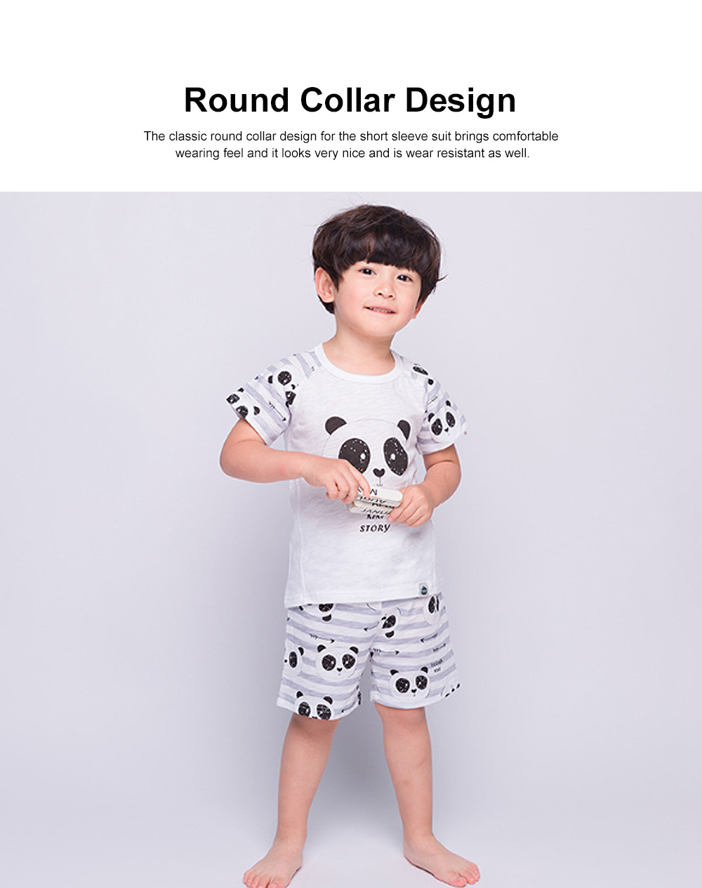 2 Piece Short Sleeve Cotton Suit with Cartoon Pattern for Children Summer New Korean Style Two-piece Kids Leisure Wear For 3-8 years 1