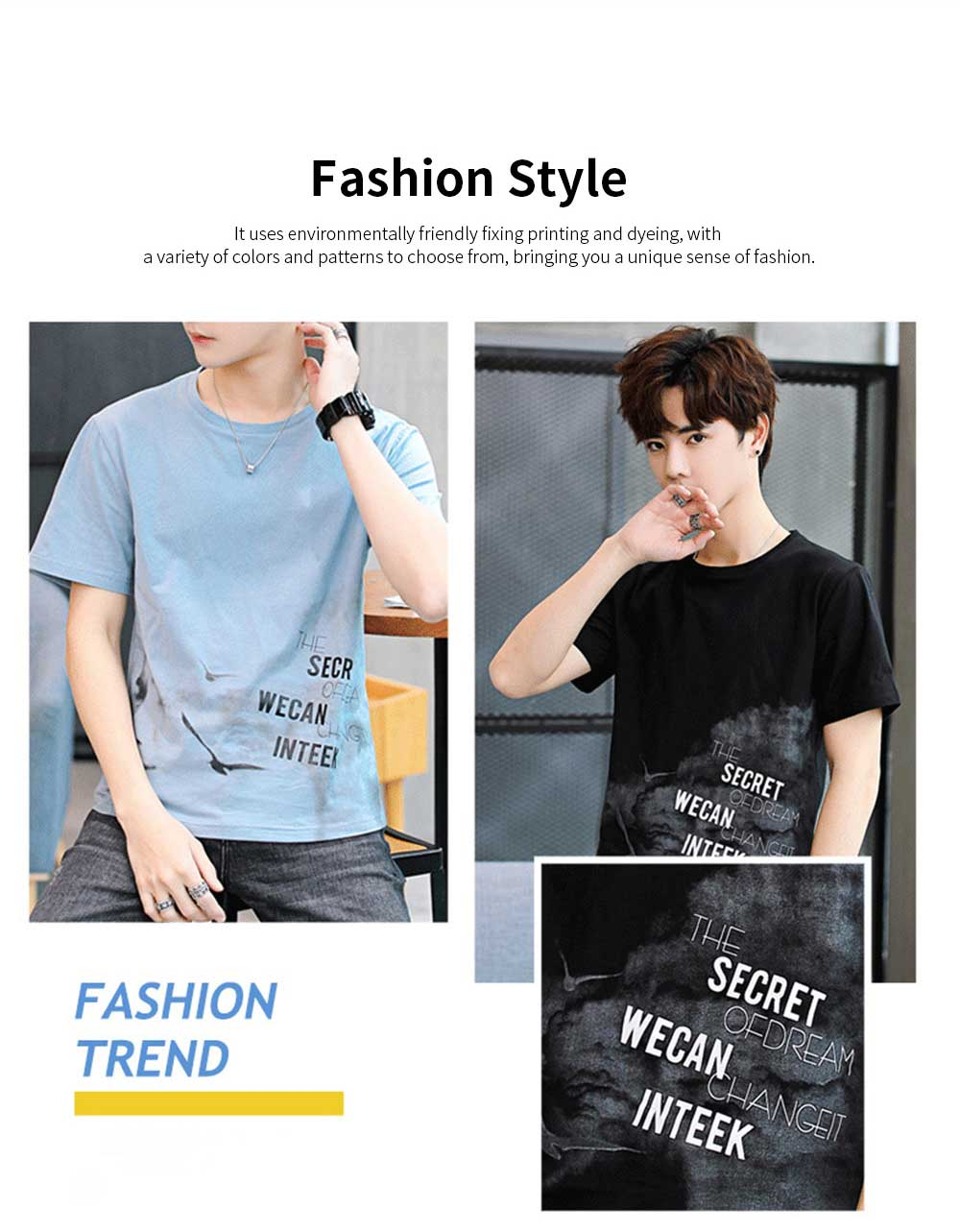 Men's T-Shirt With Round Collar &Short Sleeves New Fashionable Underclothes For Summer 1