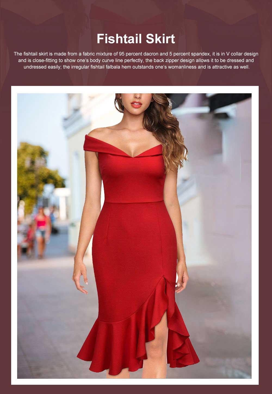 One-piece Women Evening Dress Formal Dress Sexy V Collar Off -shoulder Irregular Fishtail Skirt 0