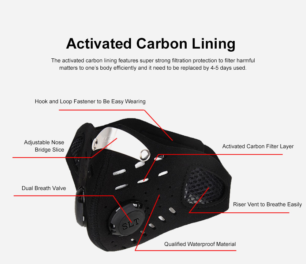 Activated Carbon Facial Mask for Outdoor Bicycle Riding Filter Element Replaceable Mouth-muffle Nose Clamp Design Anti-dust & Anti-smog Respirator 3