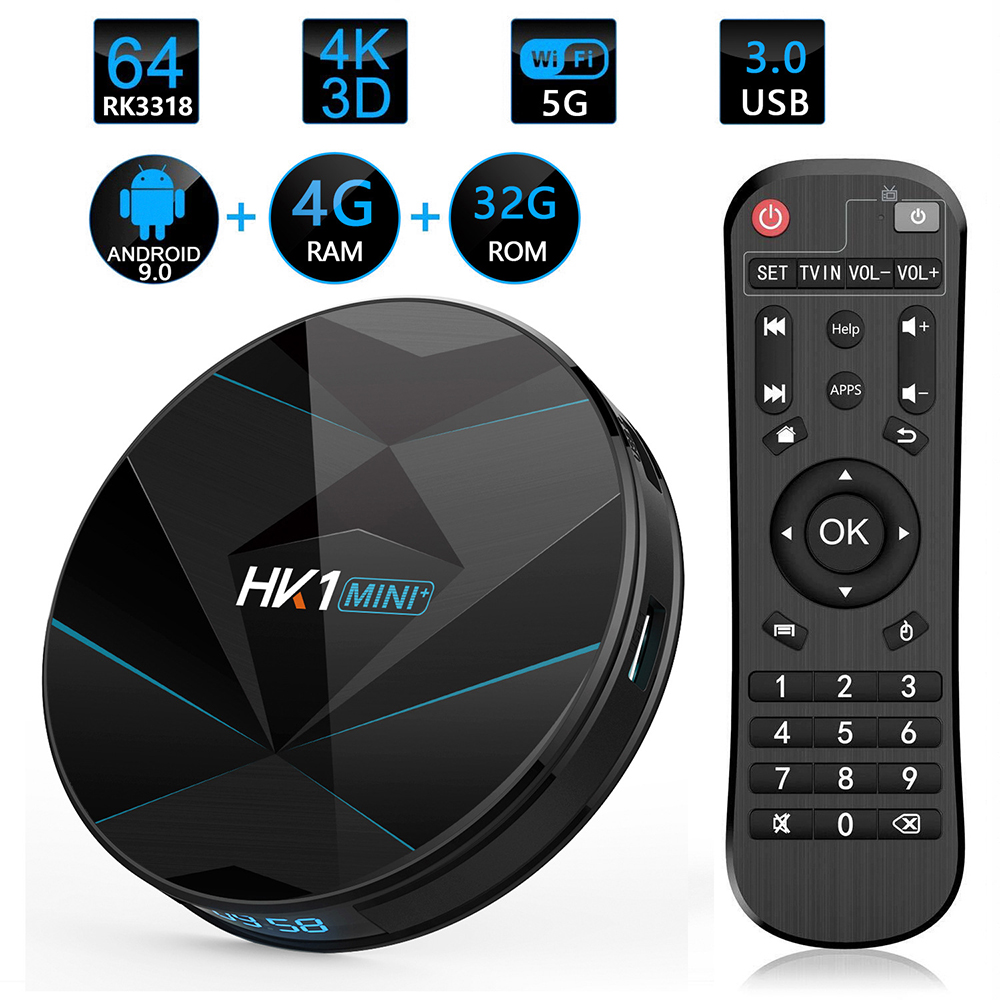 HK1 Mini + Android 9.0 TV Box 4G 128G Lastest RK3318 Quad Core 4K 2.4G 5G Wifi Bluetooth USB 3.0 Smart Set Top Box With Remote FCC CE Rohs 0
