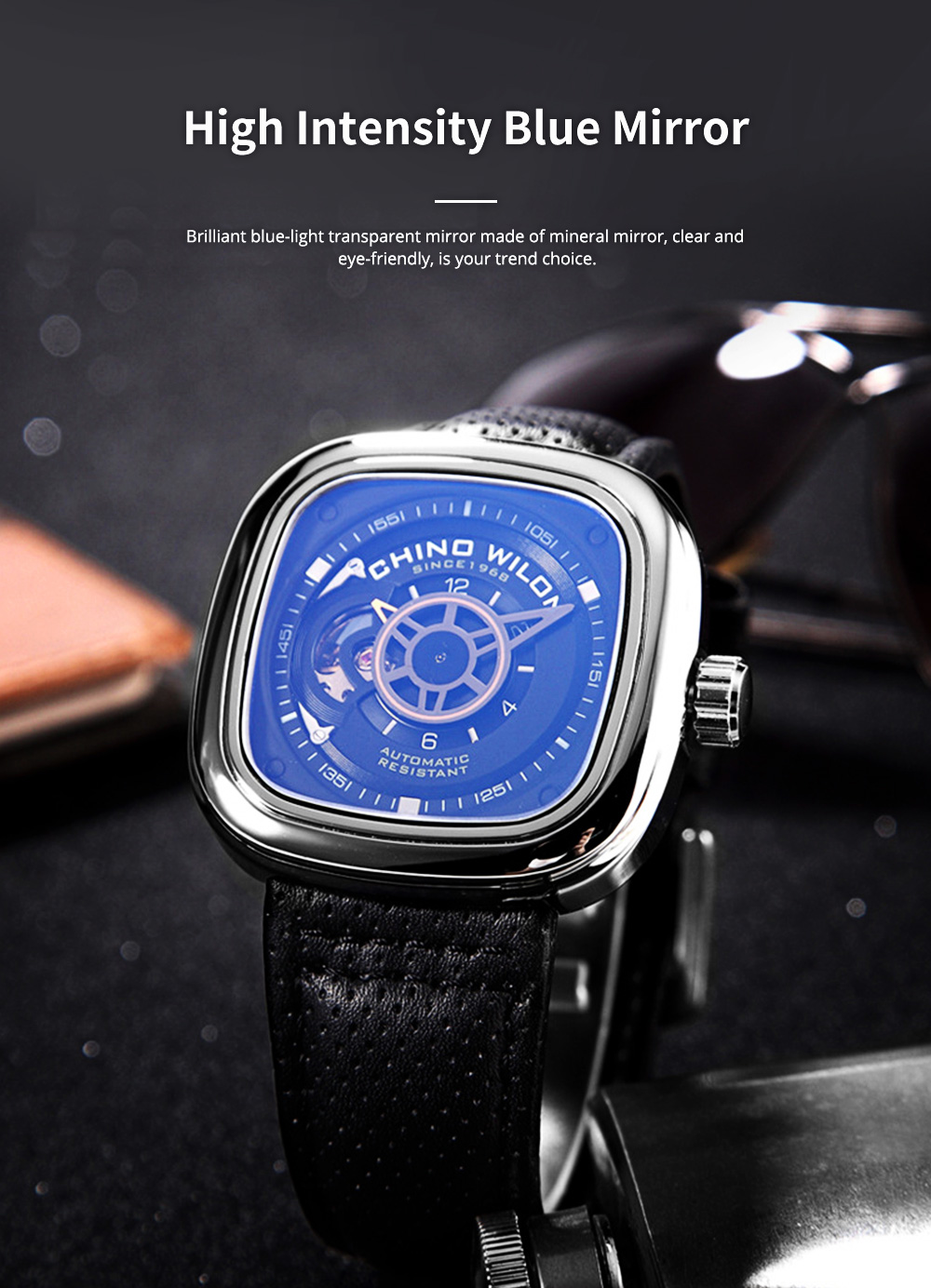 Youth's Watch Square Automatic Mechanical Watch Transparent Hollow Wrist Watch With Genuine Leather Strap 1