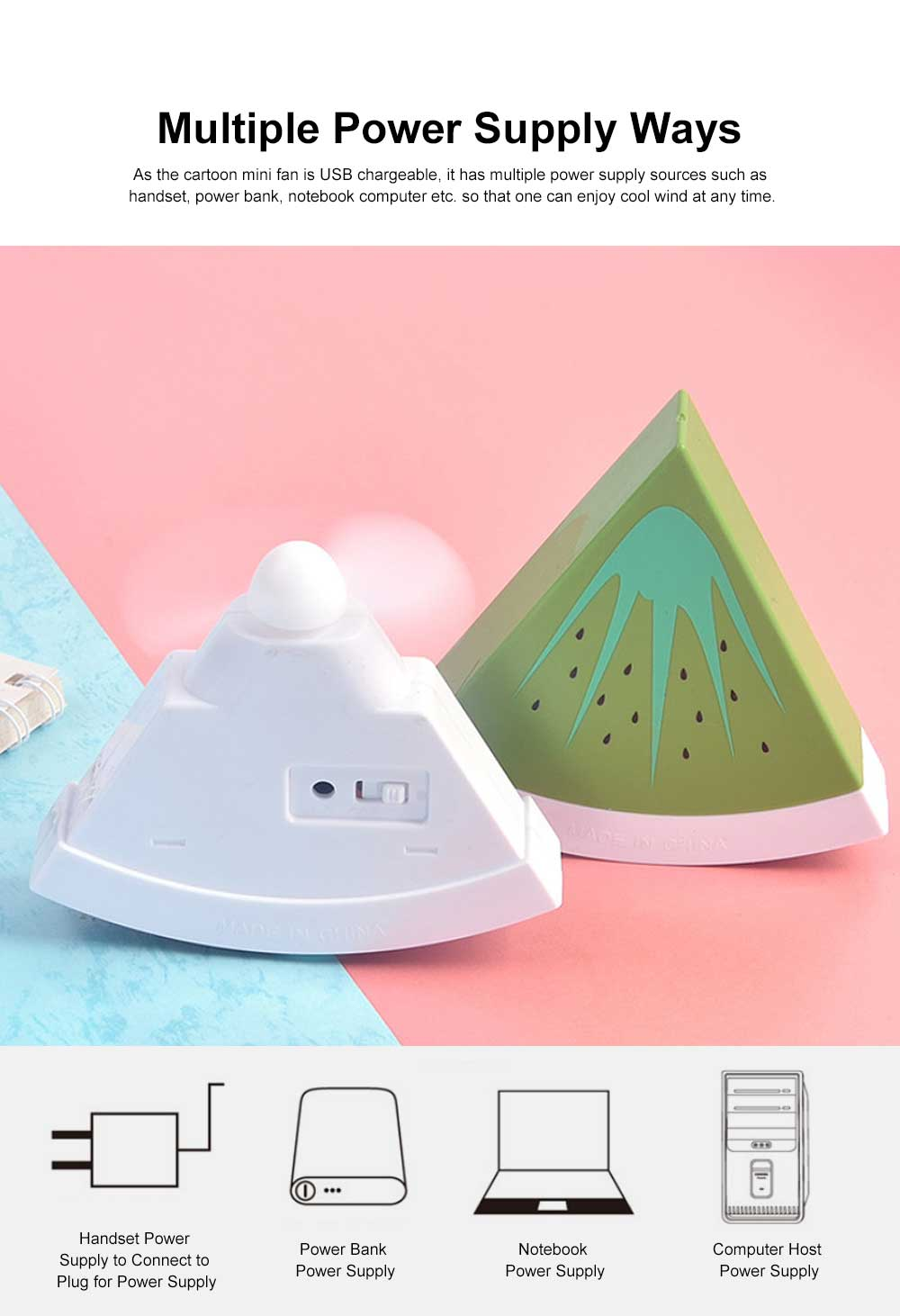 Tinkleo Watermelon USB Chargeable Mini Fan for Children's Gift, Creative Cartoon Portable Air Fan for Baby Present Mini USB Fan 6