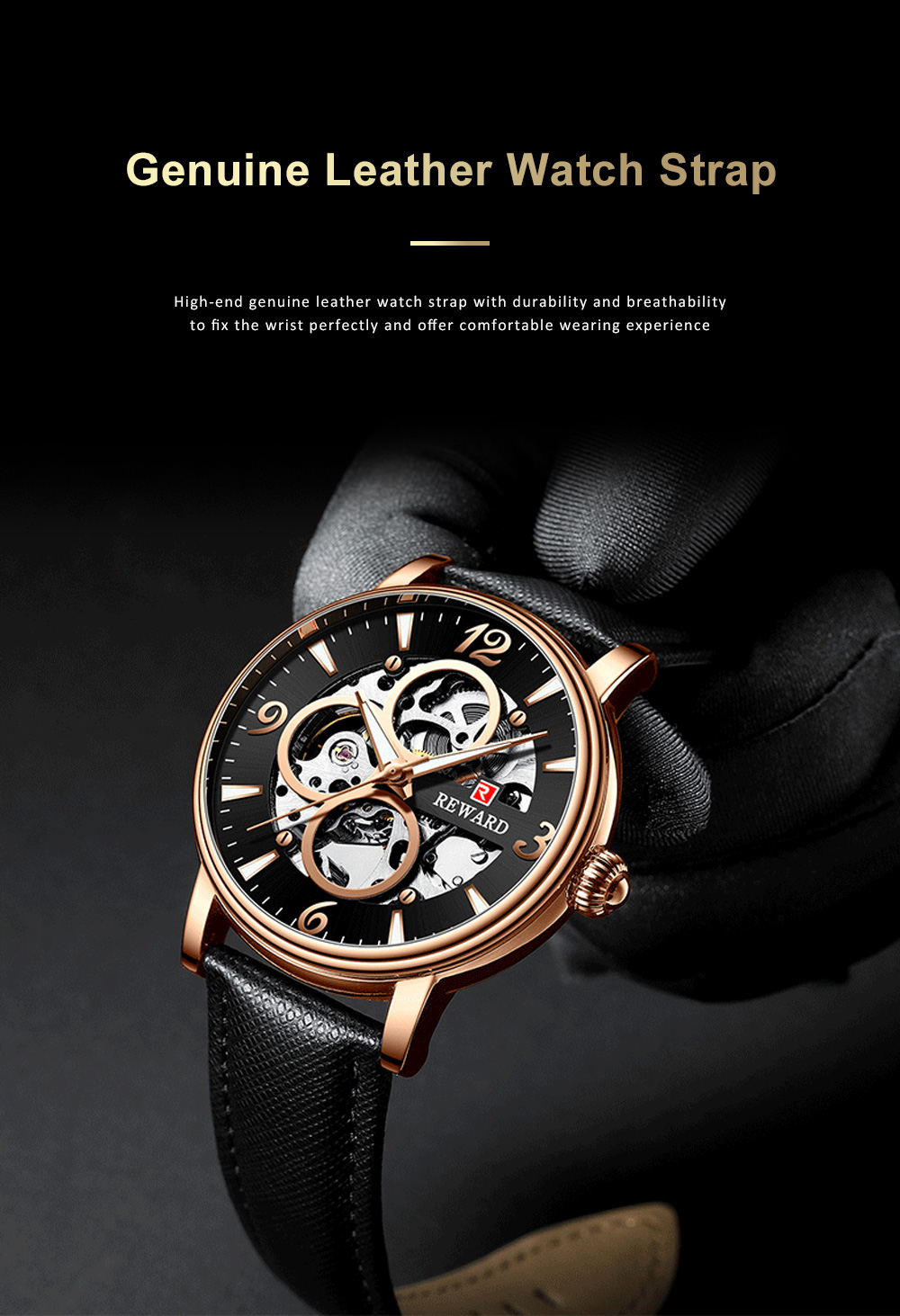 Businessman Mechanical Watch with Genuine Leather Watch Strap, Waterproof Hollow-out Bottom Cover Automatic Mechanic Men's Watch 2