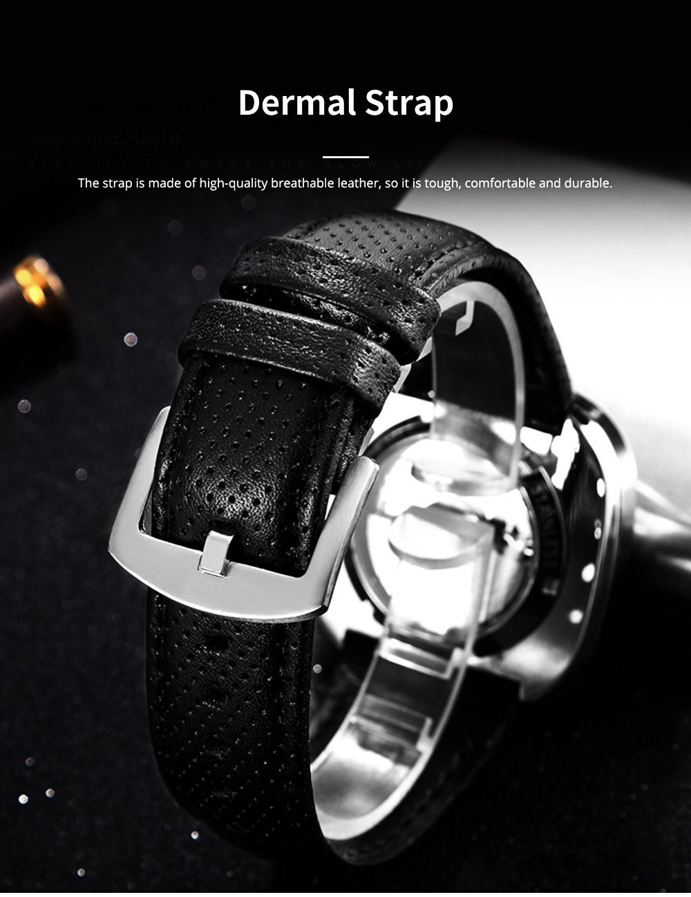 Youth's Watch Square Automatic Mechanical Watch Transparent Hollow Wrist Watch With Genuine Leather Strap 5