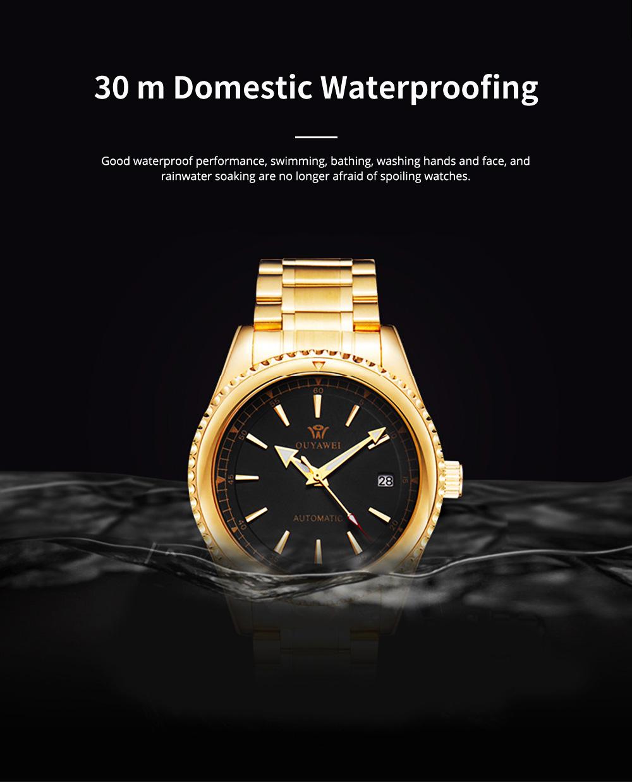Man's Automatic Mechanical Watch Night Light Waterproof Business Hollow Steel Band Wristwatch, Swiss Wristwatch with Calendar 4