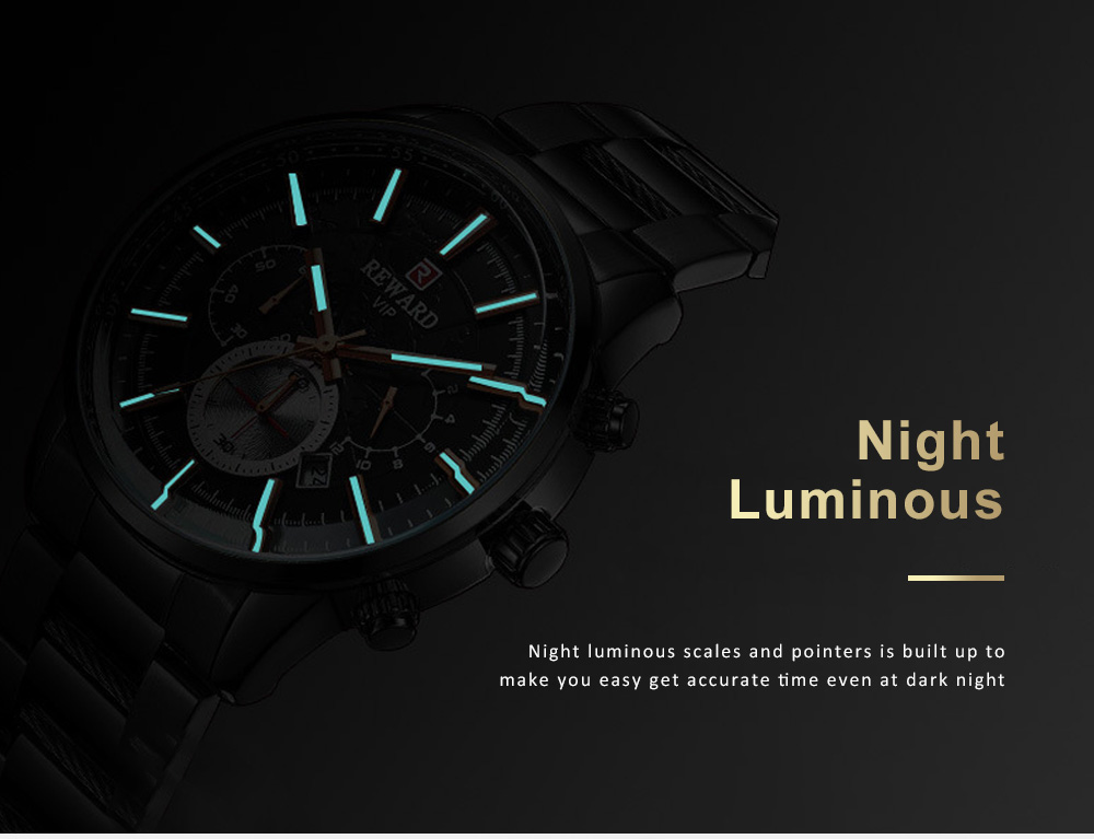 Men's Sports Quartz Watch with Stainless Steel Watchband, Butterfly Clasp, Night Luminous Wrist Watch 3