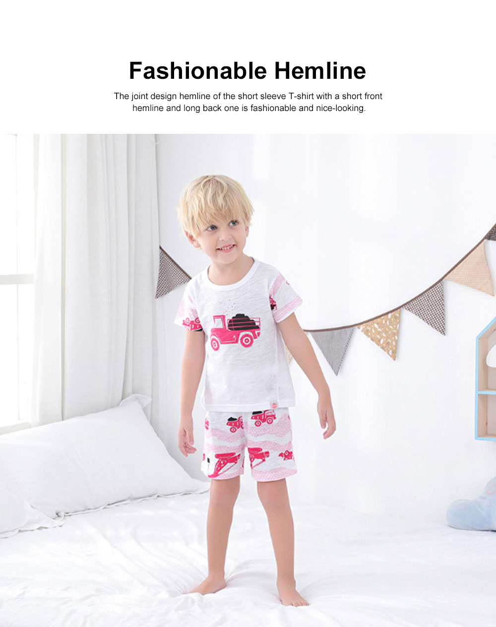 2 Piece Short Sleeve Cotton Suit with Cartoon Pattern for Children Summer New Korean Style Two-piece Kids Leisure Wear For 3-8 years 2