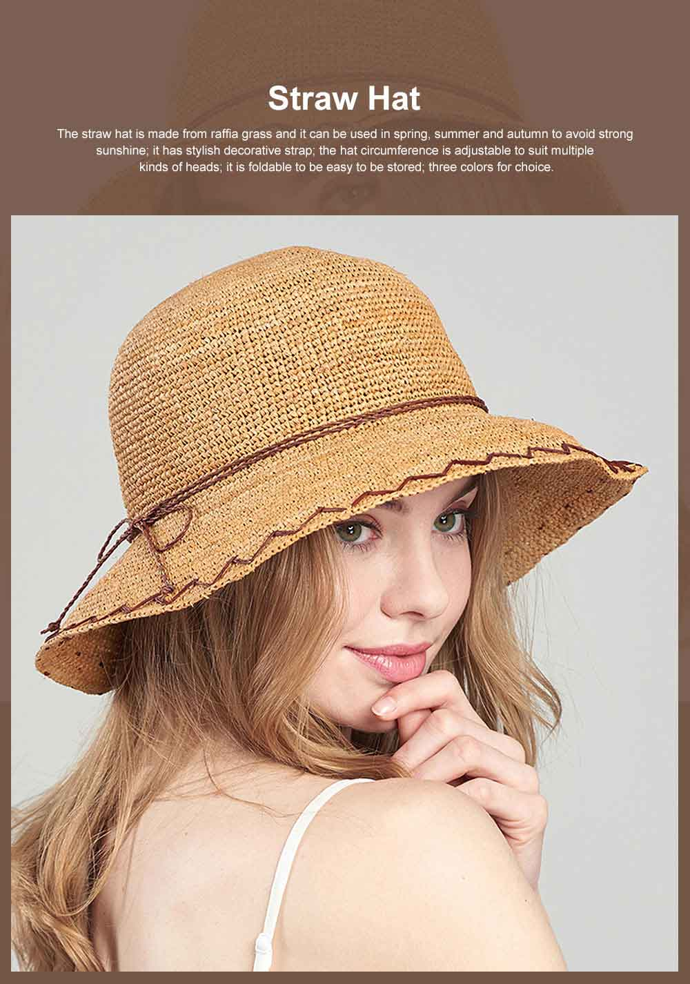 Summer Raffia Straw Hat for Women Large Brim Foldable Beach Hat All-match Sunscreen Bucket Cap Anti-UV Adumbral Cap 0