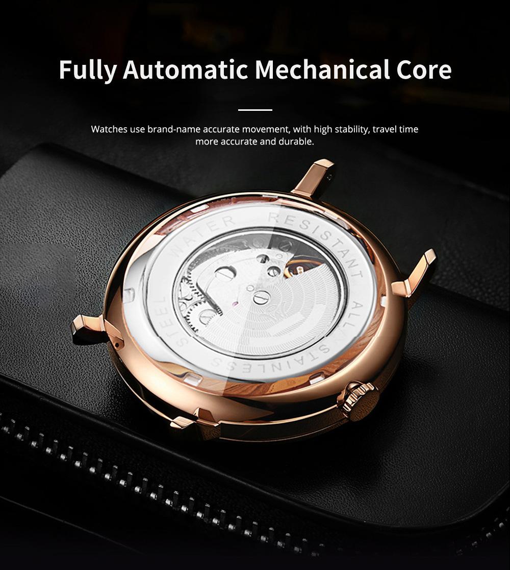 Man's Automatic Mechanical Watch Night Light Waterproof Business Hollow Steel Band Wristwatch, Swiss Wristwatch with Calendar 3