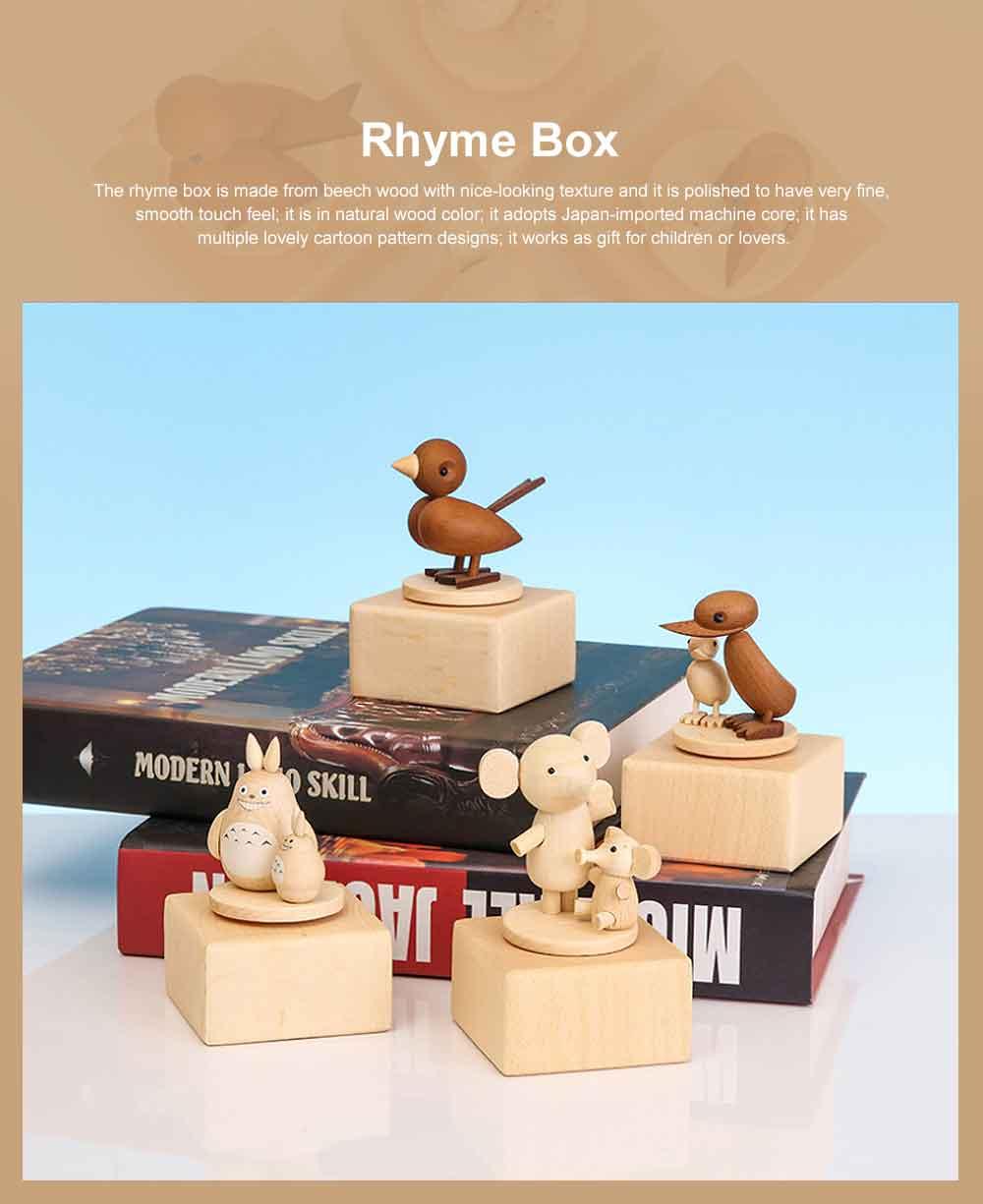 Wood Rhyme Box Mini Lovely Cartoon Design Manual Rotating Music Box Small Size Decorative Handiwork Gift for Children Family Lovers 0