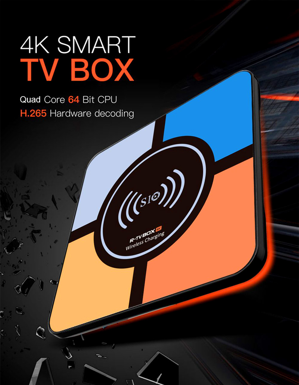 Tinkleo S10 PLUS Smart TV Box Fast Wireless Charge 4G 32GB RK3328 Android 8.0 3D 4K USB 3.0 Wifi R-TV Box Network Player Wireless Charging Bank 6