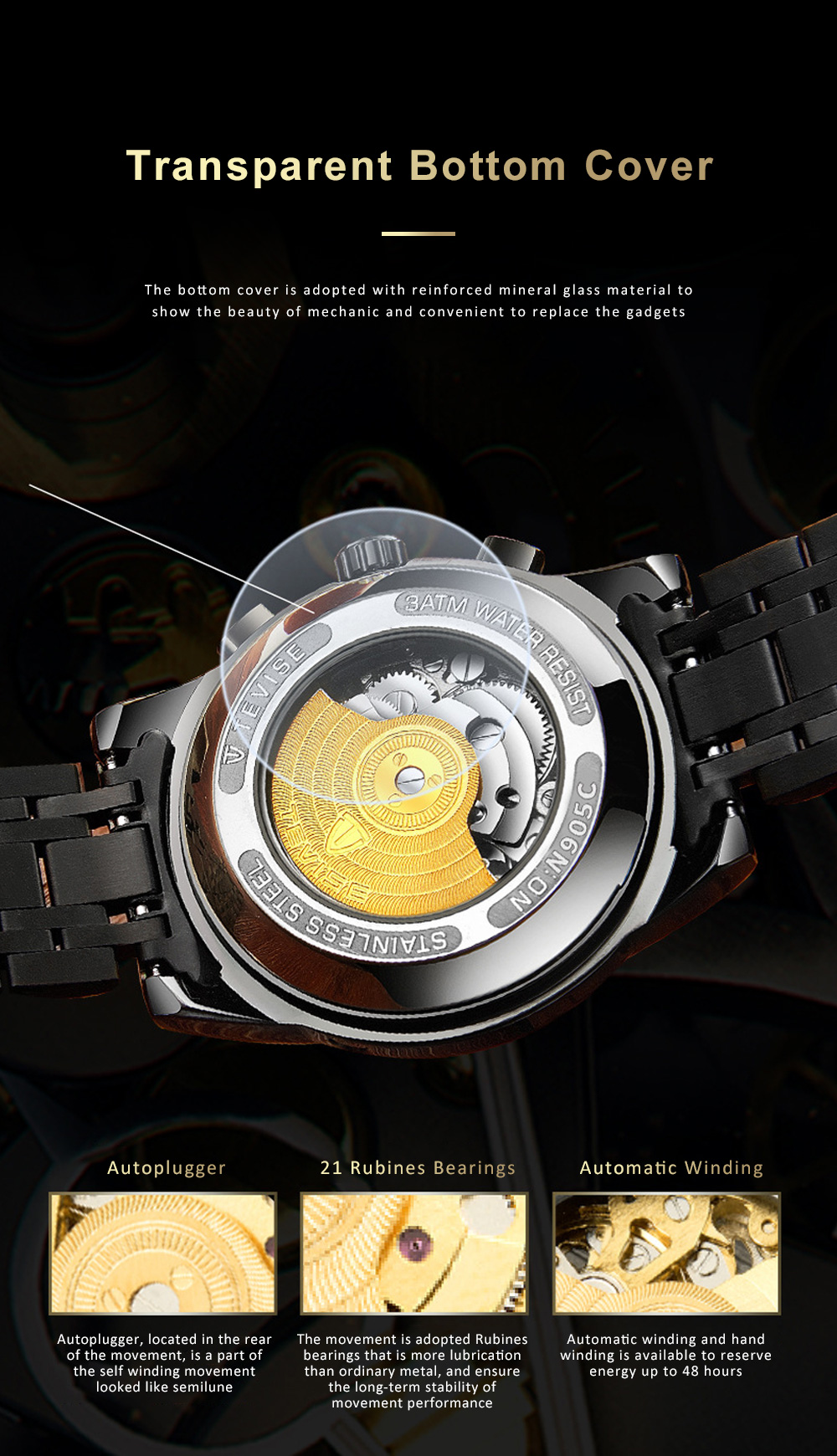 Automatic Mechanical Men's Watch for Business, Daily, Dating, Luxurious Fashion Businessman Watch with Waterproof 3