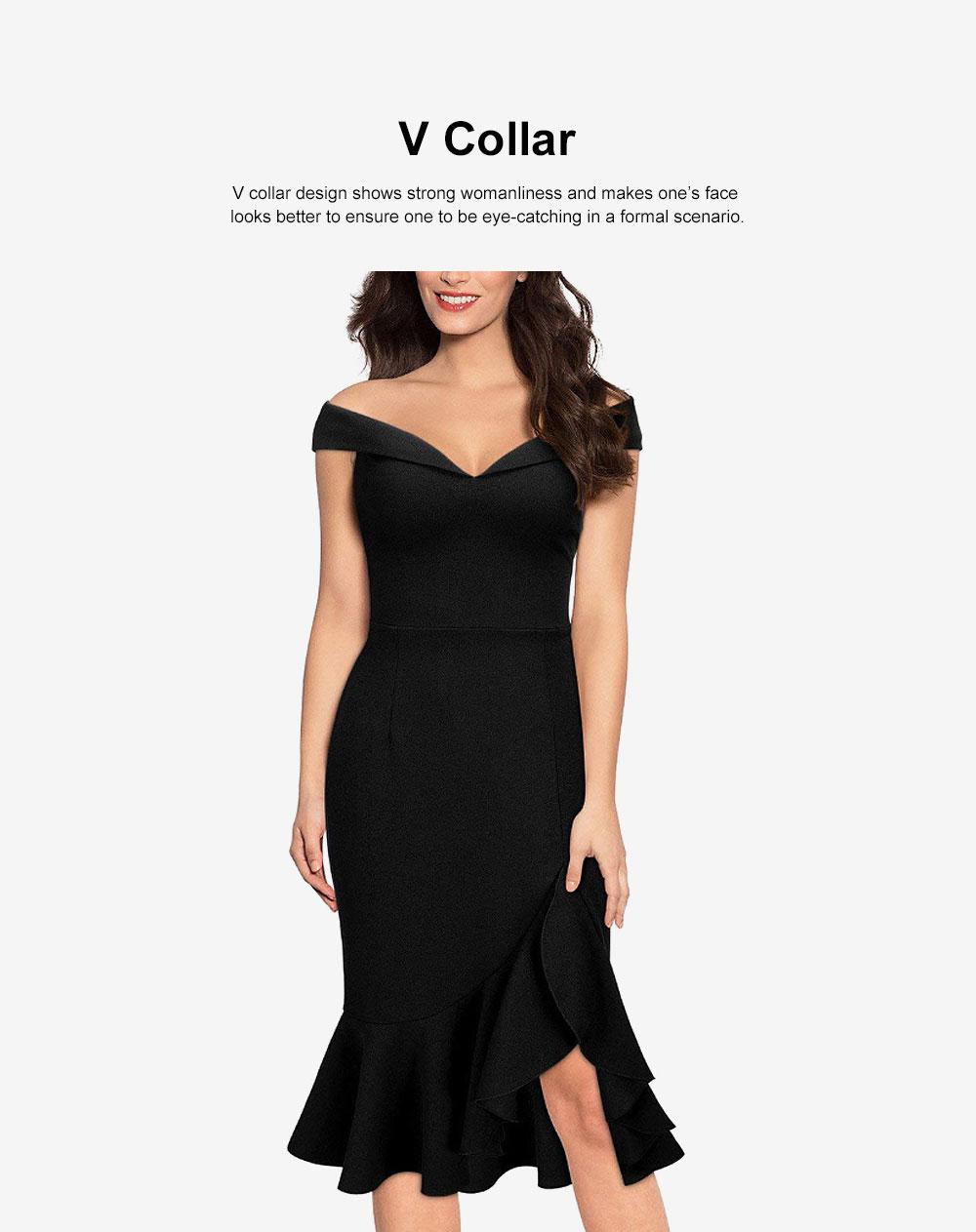 One-piece Women Evening Dress Formal Dress Sexy V Collar Off -shoulder Irregular Fishtail Skirt 1