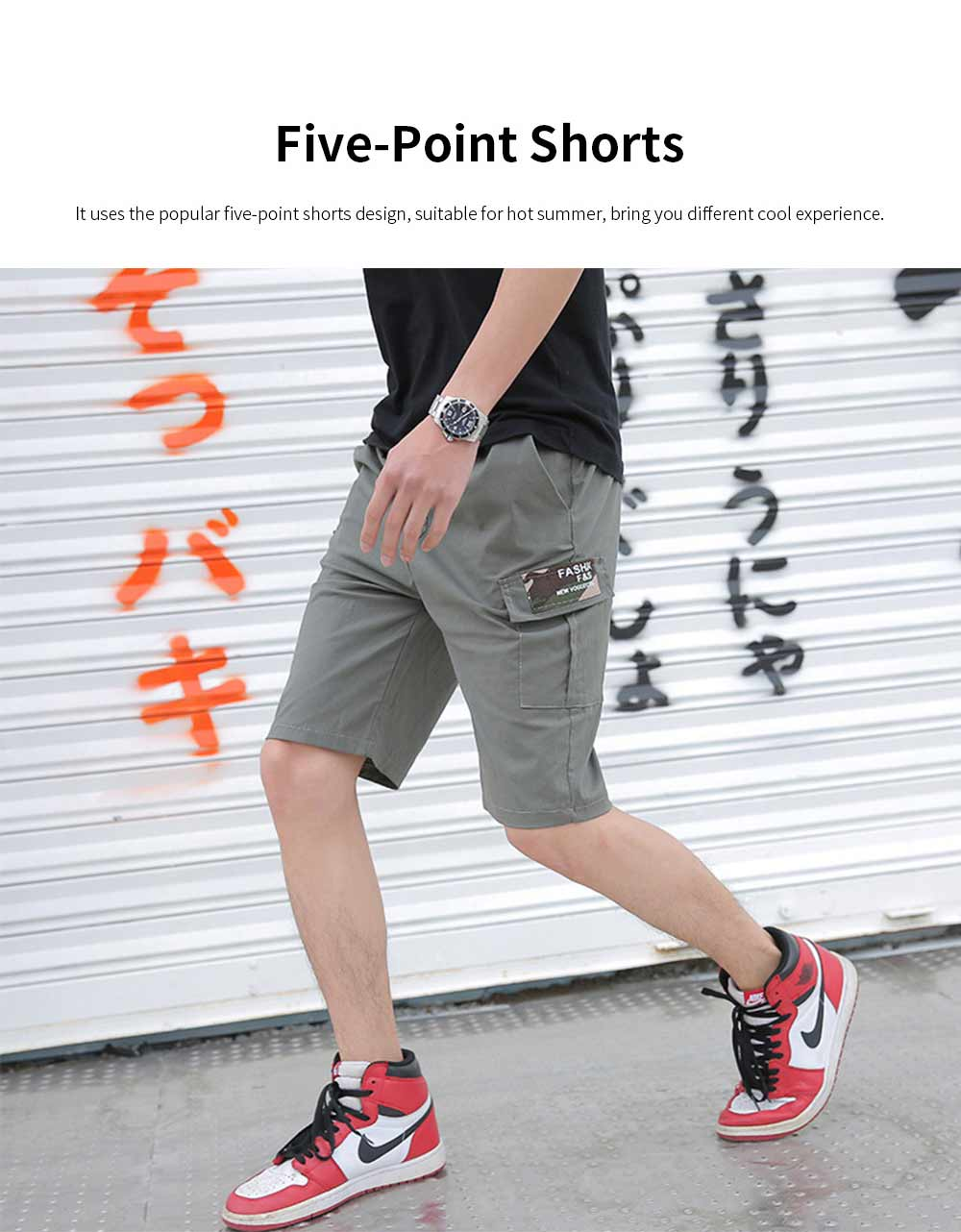 Men's Casual Overalls Shorts Students' Five-Point Shorts New Fashion Pocket Pants For Summer 2