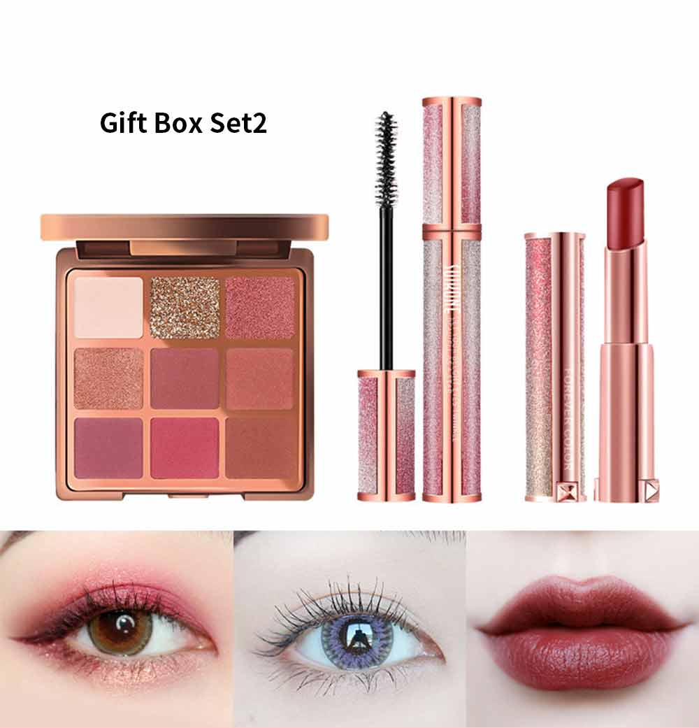 9 Color Eye Shadow & Mascara & Lipstick Set Beauty Makeup Birthday Cosmetic Gift Box Set 6