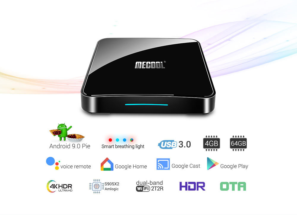 MECOOL KM3 905X2 Android 9.0 Smart TV Box 4G 64G Amlogic Quad Core A53 3D 4K USB3.0 Support Youtube Google 0