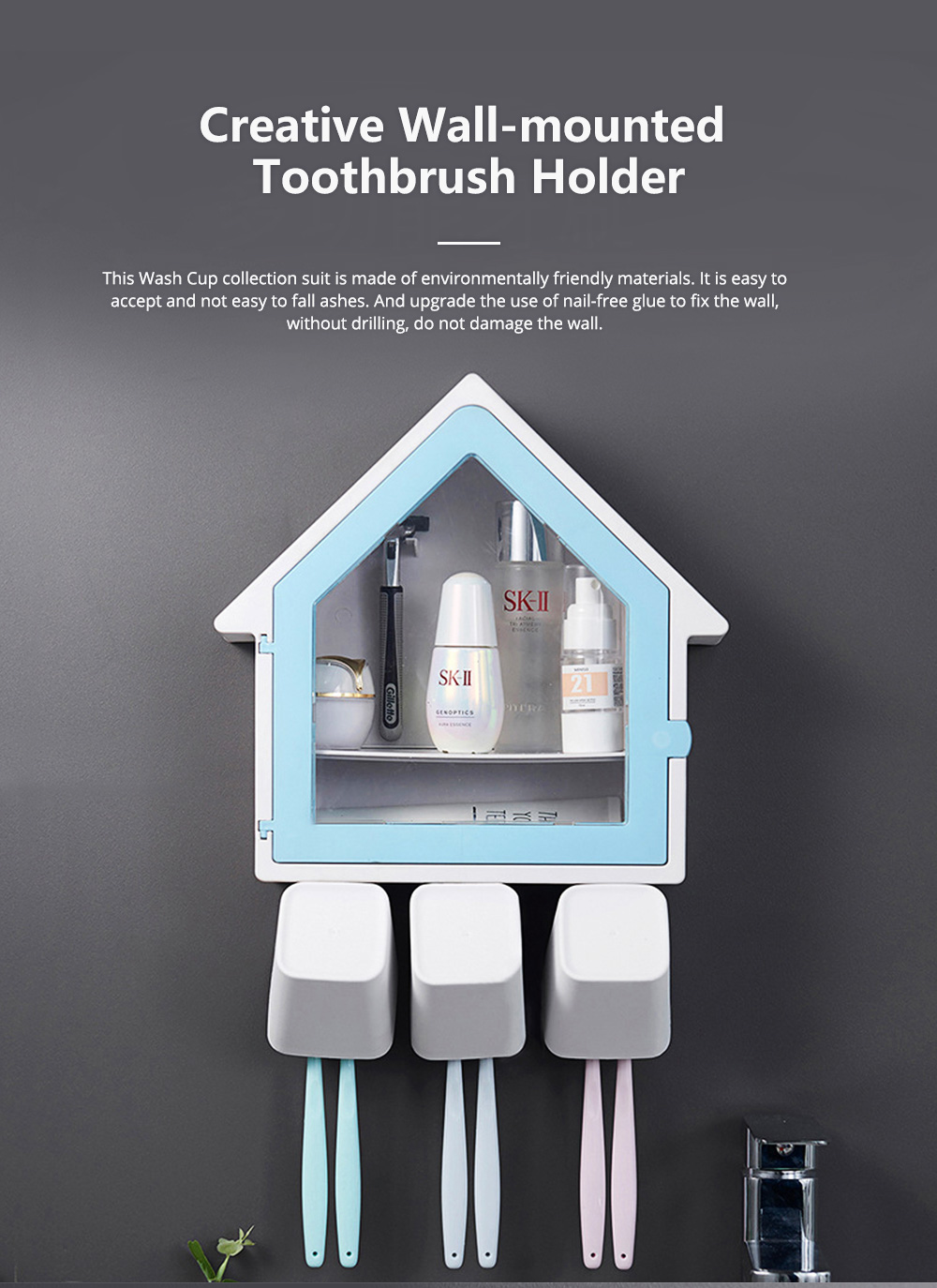 Creative Wall-mounted House-shaped Toothbrush Holder Multifunctional Three-Population Home Rinse Cup Set 0