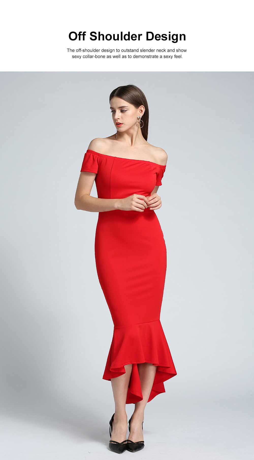 New Style One-piece Dress for Party Western Style Evening Formal Dress Amazon Best-selling Off Shoulder Short Sleeve Fishtail Skirt Evening Dress 2