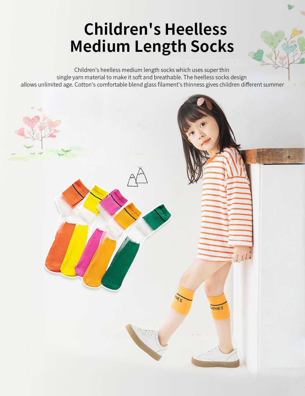 Children's Heelless Medium Length Socks Fashionable Thin Glass Silk Socks For Summer 0