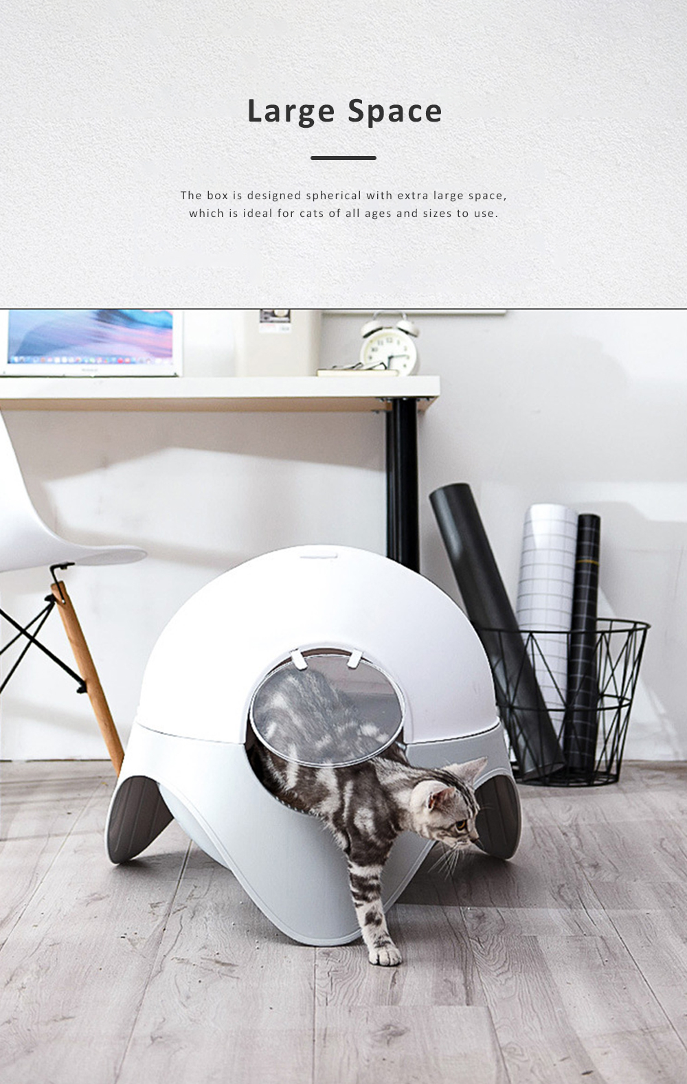 Space Capsule Cat Box, Totally Enclosed Space Capsule Extra Large Toilet for Cats Splash-proof Deodorization 2