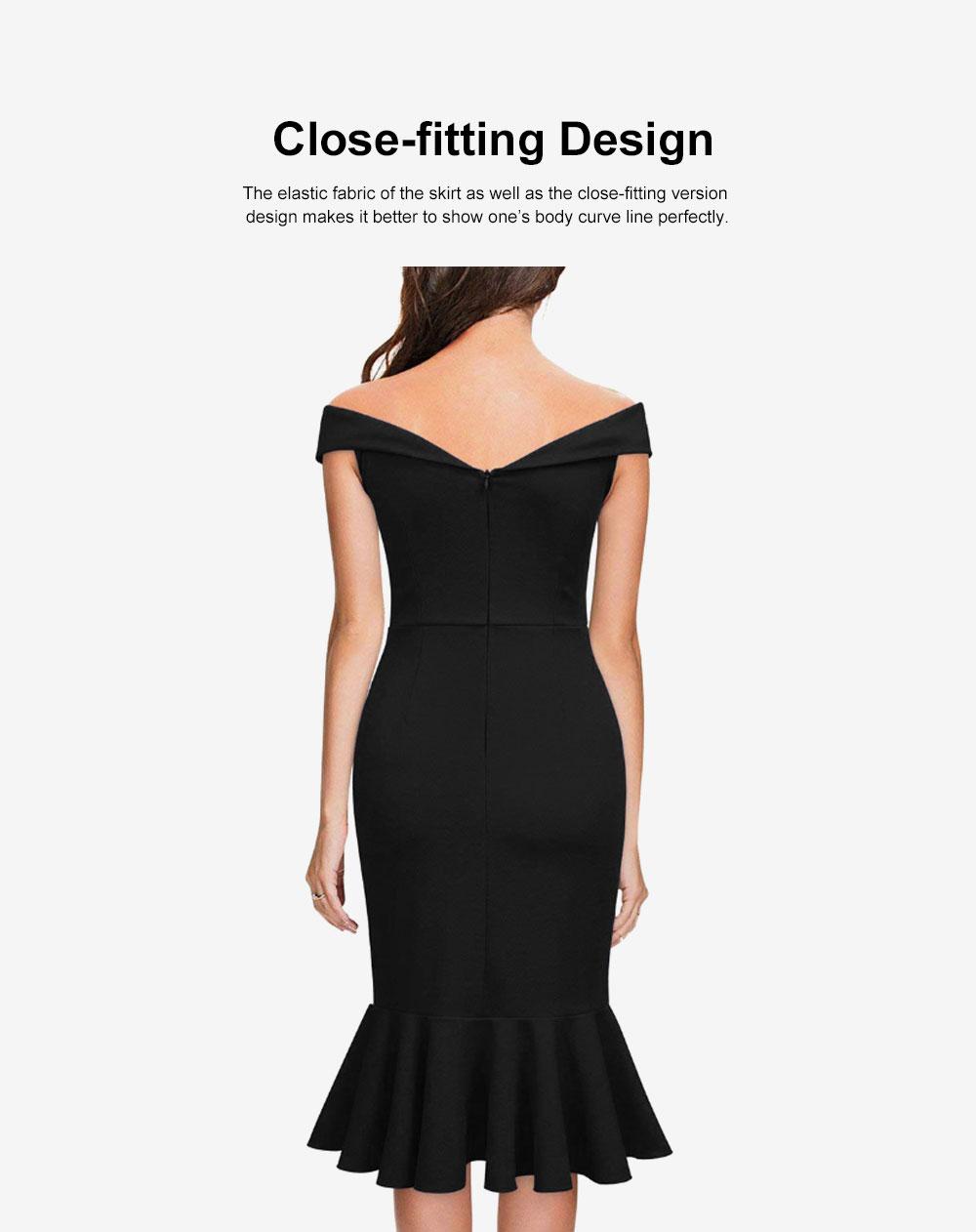 One-piece Women Evening Dress Formal Dress Sexy V Collar Off -shoulder Irregular Fishtail Skirt 3